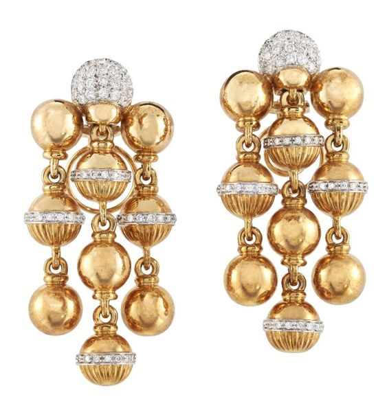A pair of diamond ball drop chandelier earrings, the rounded pave diamond tops t…
