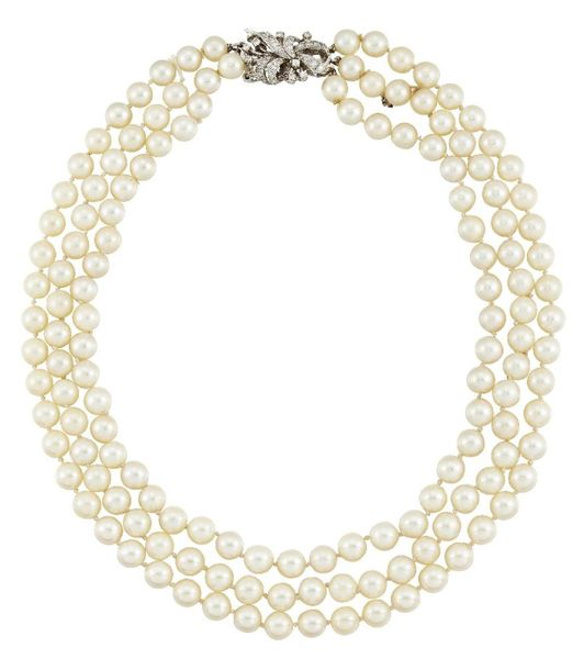 A cultured pearl and diamond necklace, the triple row necklace (one row detached…