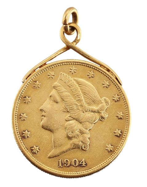 A pendant mounted gold USA 20 dollar coin, 1904, soldered mount