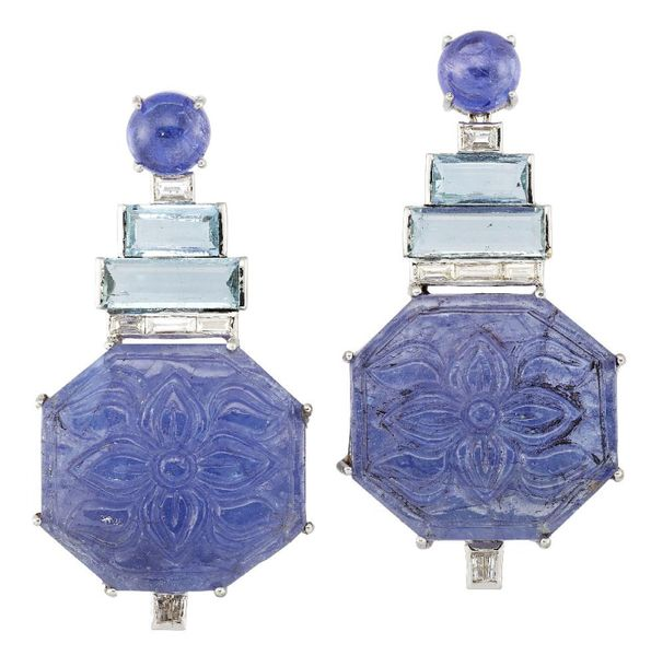 A pair of tanzanite, aquamarine and diamond earrings, the floral carved octagona…
