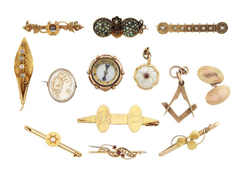 A group of jewellery and other items, including: eight late 19th or early 20th c…