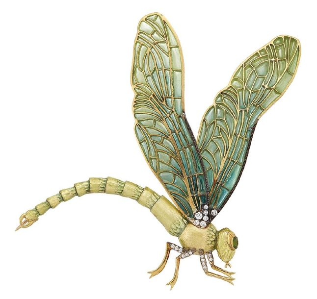 An enamel, diamond and gem dragonfly brooch, the shaded green plique à jour enam…