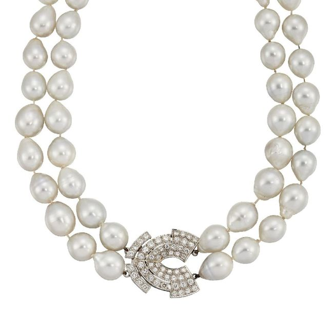 A cultured pearl and diamond necklace, the two rows of baroque shaped cultured p…