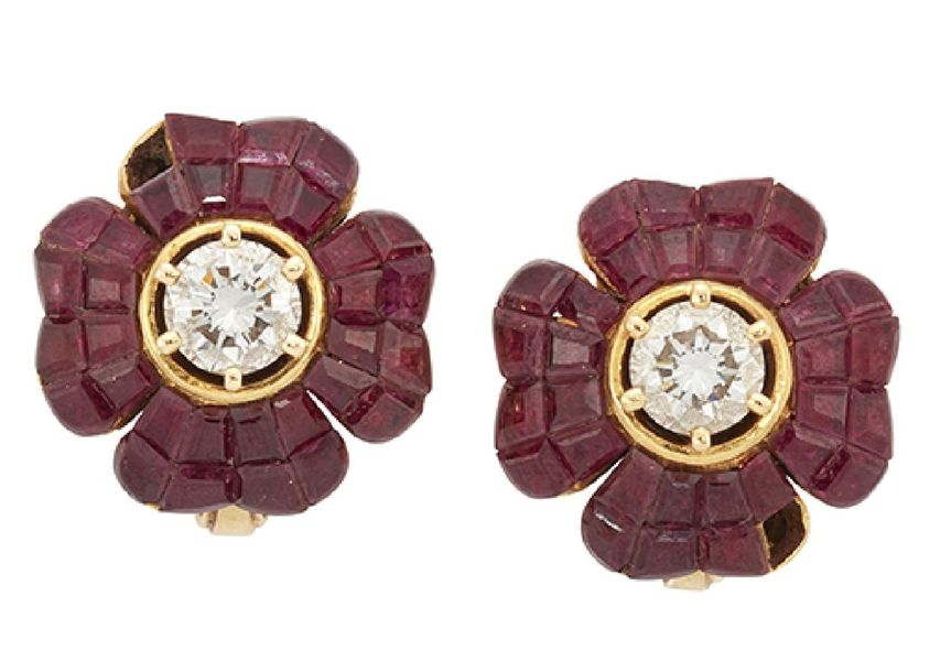 A pair of diamond and ruby earrings by Chatila, each brilliant cut diamond singl…