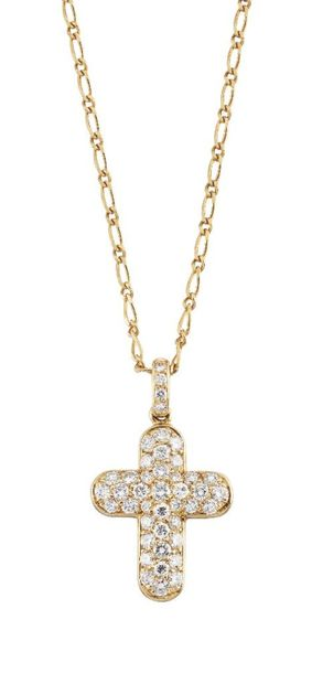 A diamond cross pendant necklace, by Tabbah, the cross design pendant pave set w…