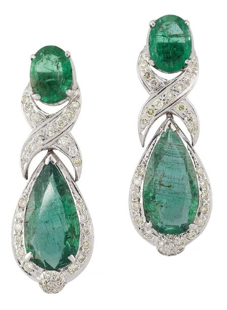 A pair of emerald and diamond pendant earrings, the pear shaped emerald drops wi…