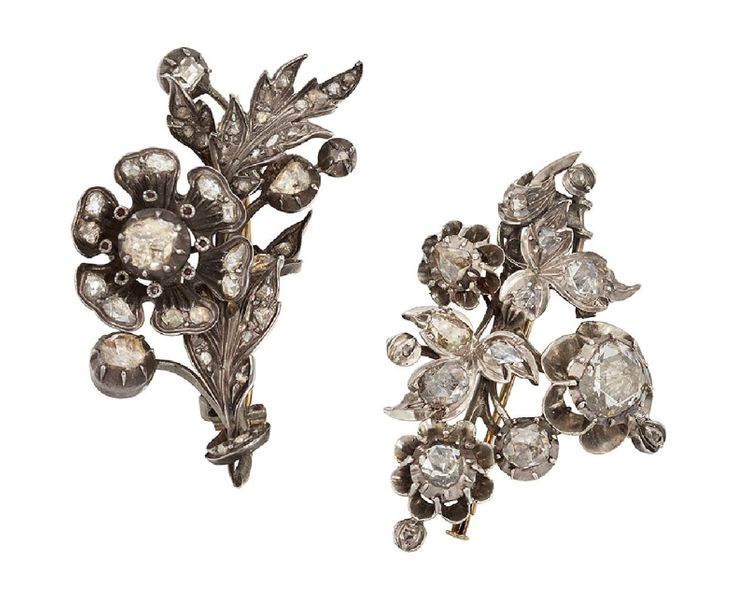 Two 19th century rose cut diamond brooches, of floral spray design, mounted in s…
