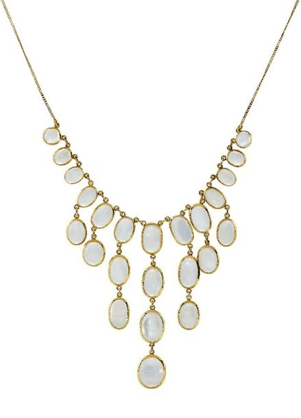 An 18ct gold moonstone drop necklace, the graduating fringes of twenty four arti…