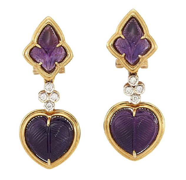 A pair of amethyst and diamond earrings, each carved heart heaped amethyst bead …