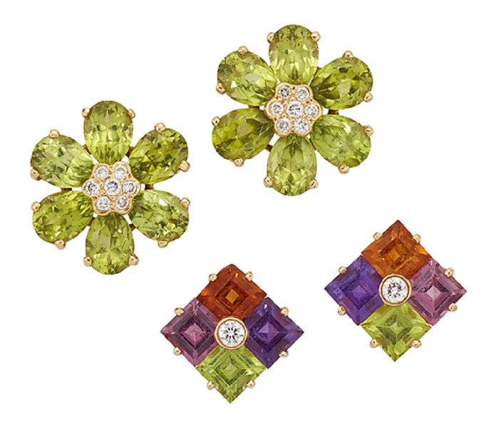 Two pairs of gem set earrings, the first with peridot petals radiating from a ce…