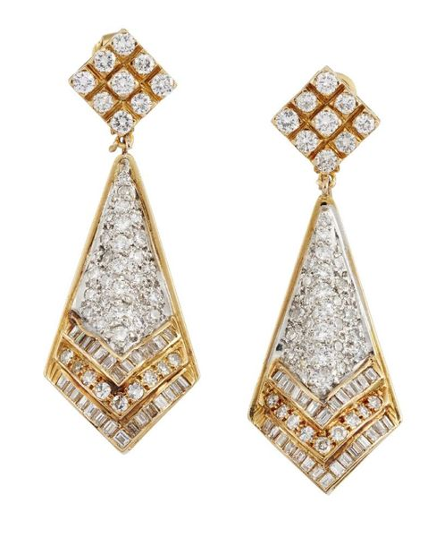 A pair of diamond pendant earrings, the brilliant, baguette and single cut diamo…