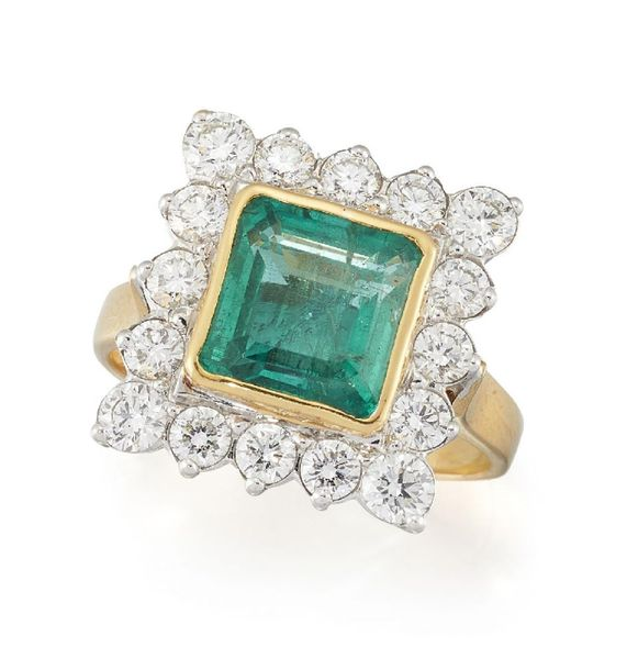 An emerald and diamond cluster ring, the cut cornered square emerald in collet m…