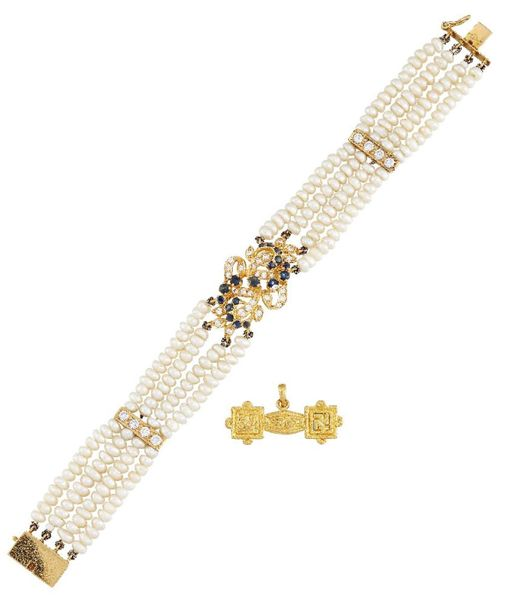A diamond and sapphire cultured pearl bracelet and a gold runic pendant, the bra…