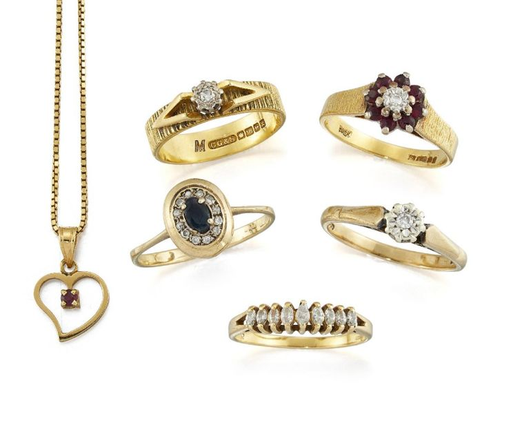 A group of five diamond and gem set rings and an 18ct Italian gold heart shaped …