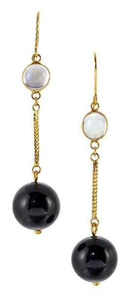 A pair of onyx and moonstone drop earrings, each designed as a spherical black o…