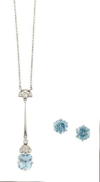 An aquamarine and diamond necklace and a pair of blue zircon earstuds, the neckl…