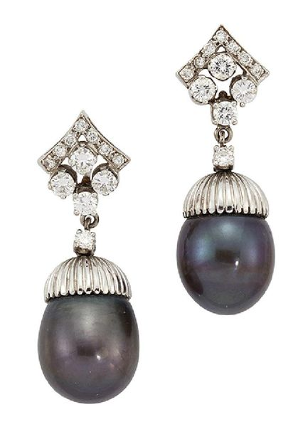 A pair of black cultured pearl and diamond earrings, the drops designed as styli…