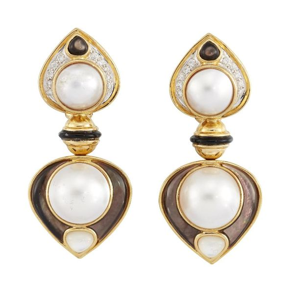 A pair of cultured and mother of pearl pearl, onyx and diamond earrings, designe…