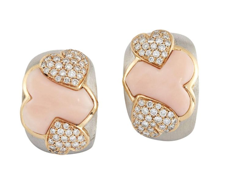 A pair of pink coral and diamond earrings, by Andreoli, of stylised triple heart…