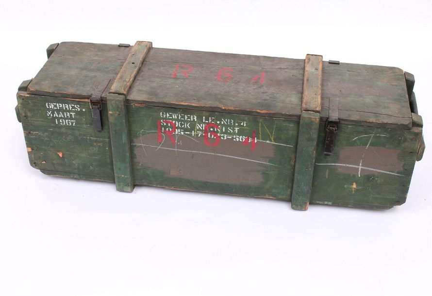 A wooden Dutch army chest, with white lettering A wooden Dutch army chest, with …