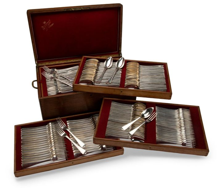 A wooden canteen with a collection of Dutch silver flatware A wooden canteen wit…
