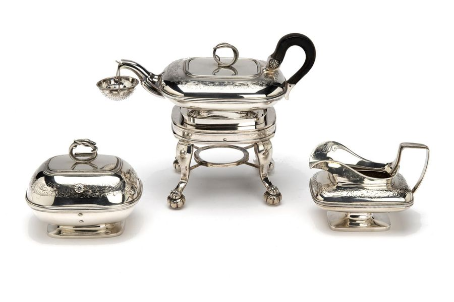 A Dutch silver four piece tea service A Dutch silver four piece tea service, Rec…