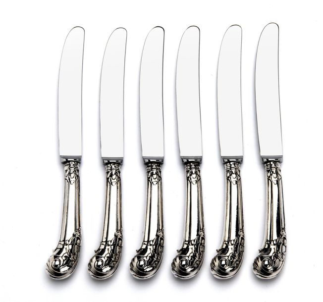 Six Dutch silver knives with pistol handle Six Dutch silver knives with pistol h…