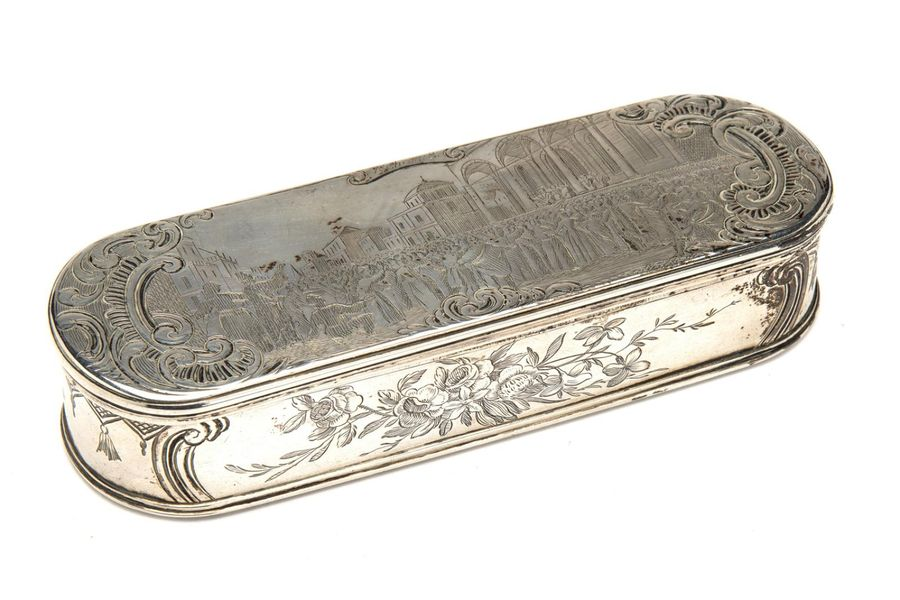 A fine Dutch silver tobacco box A fine Dutch silver tobacco box, Rectangular wit…