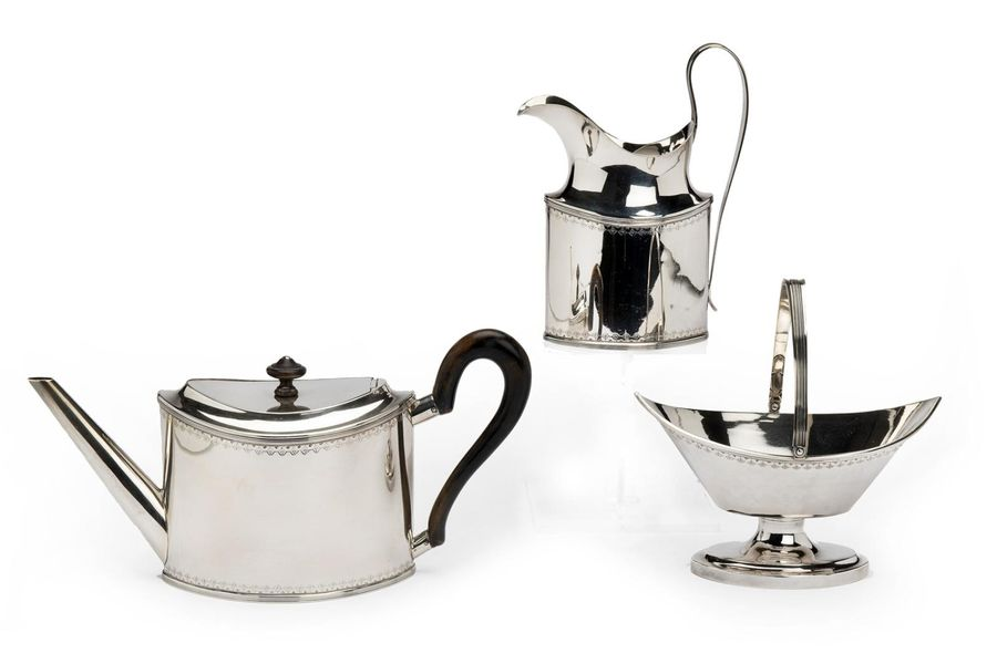A Dutch silver three piece tea service A Dutch silver three piece tea service, N…