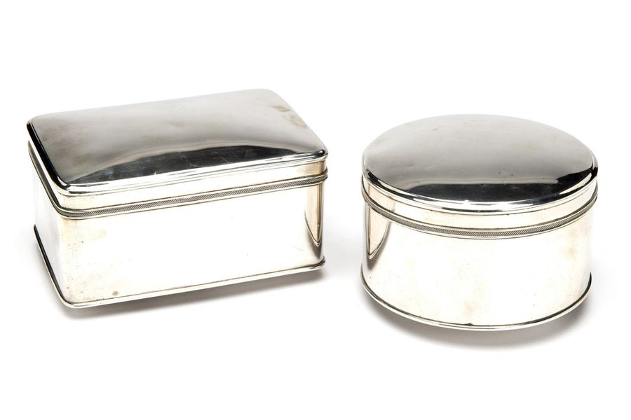 Two Dutch silver biscuit boxes Two Dutch silver biscuit boxes, One rectangular m…