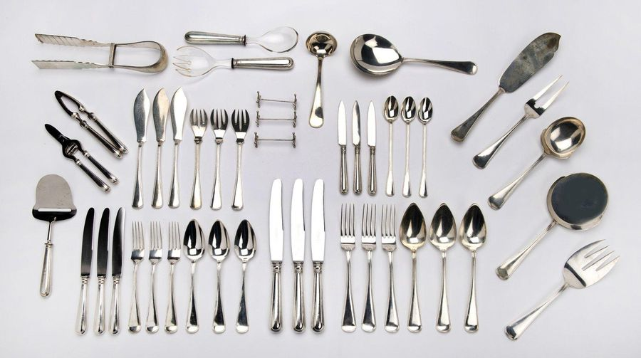 A large collection of Dutch silver flatware A large collection of Dutch silver f…