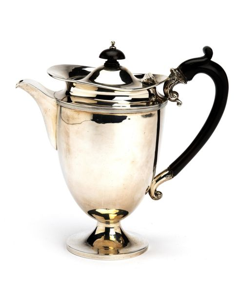 An English silver coffee pot An English silver coffee pot, Plain round high form…
