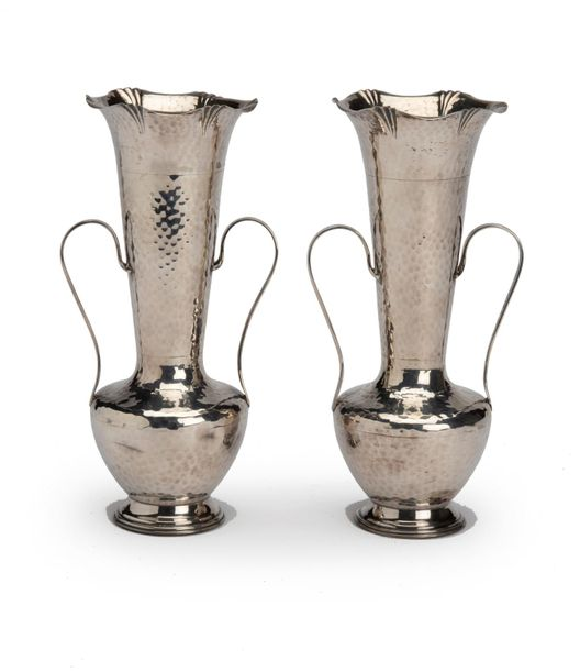 Two English silver vases Two English silver vases, Hammered in Arts and Crafts s…