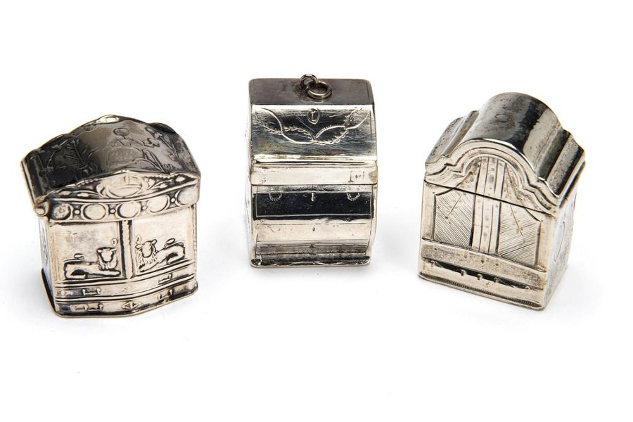 Three Dutch silver scent boxes Three Dutch silver scent boxes, Two in the form o…