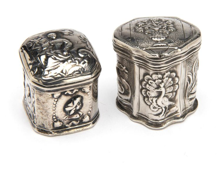 Two Dutch silver scent boxes Two Dutch silver scent boxes, One hexagonal model w…