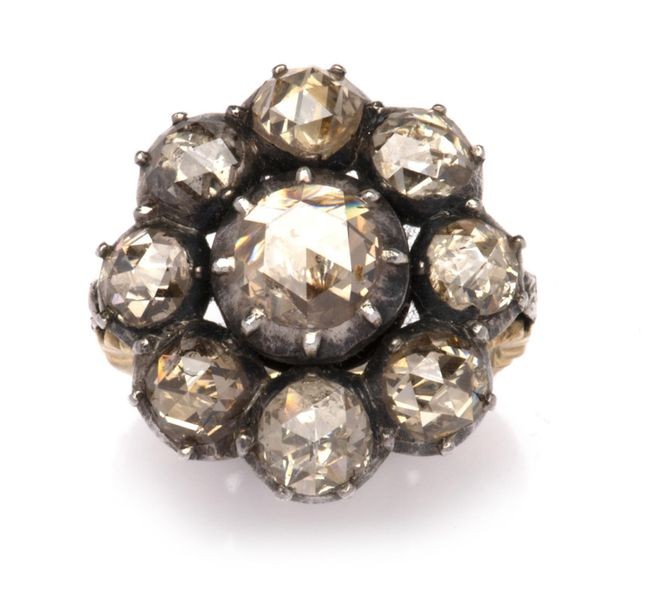 A 14k gold and silver diamond cluster ring A 14k gold and silver diamond cluster…