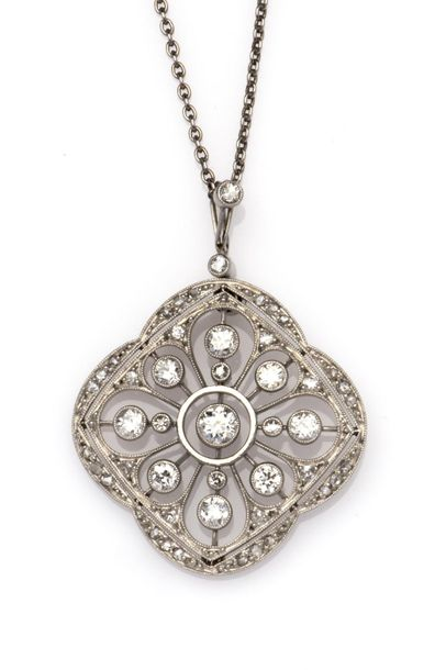 A platinum Belle Epoque diamond pendant A platinum Belle Epoque diamond pendant,…