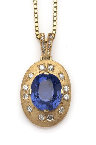 A sapphire and diamond pendant A sapphire and diamond pendant, The pendant set w…