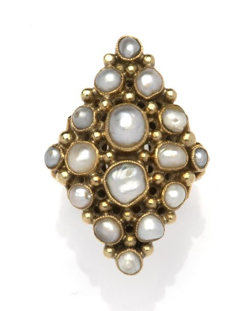 A pearl ring A pearl ring, The lozenge shaped front set throughout with variousl…