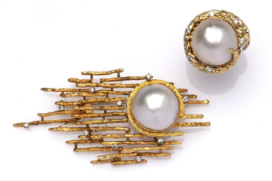 A 14k gold mabé pearl and diamond brooch and ring A 14k gold mabé pearl and diam…