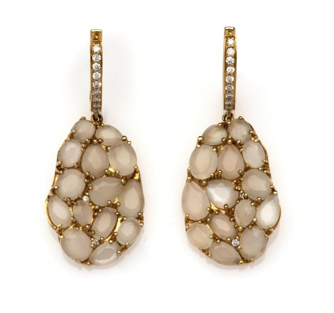 A pair of 18k gold moonstone and diamond earrings A pair of 18k gold moonstone a…