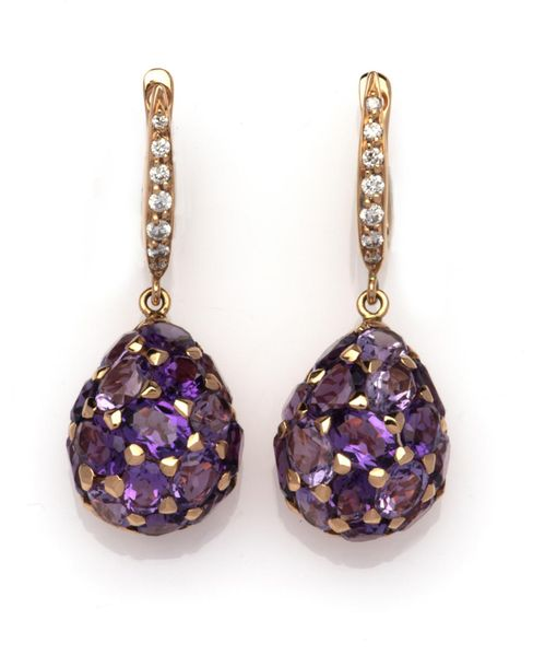 A pair of 18k pink gold amethyst and diamond earrings A pair of 18k pink gold am…