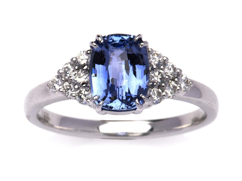 An 18k white gold sapphire and diamond ring An 18k white gold sapphire and diamo…