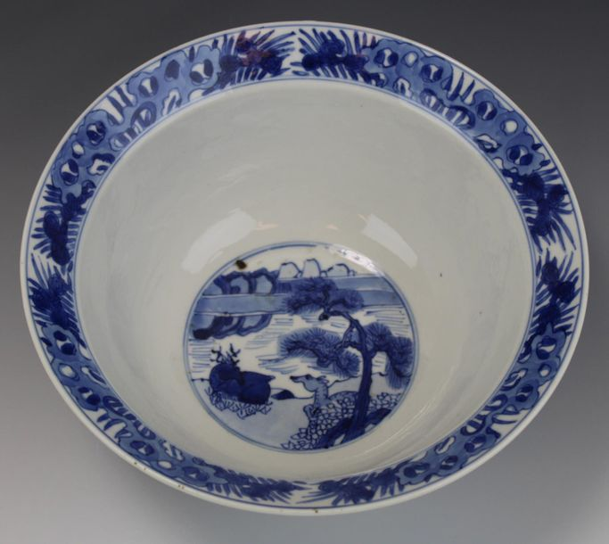 A blue and white klapmuts bowl A blue and white klapmuts bowl, Kangxi period, ca…