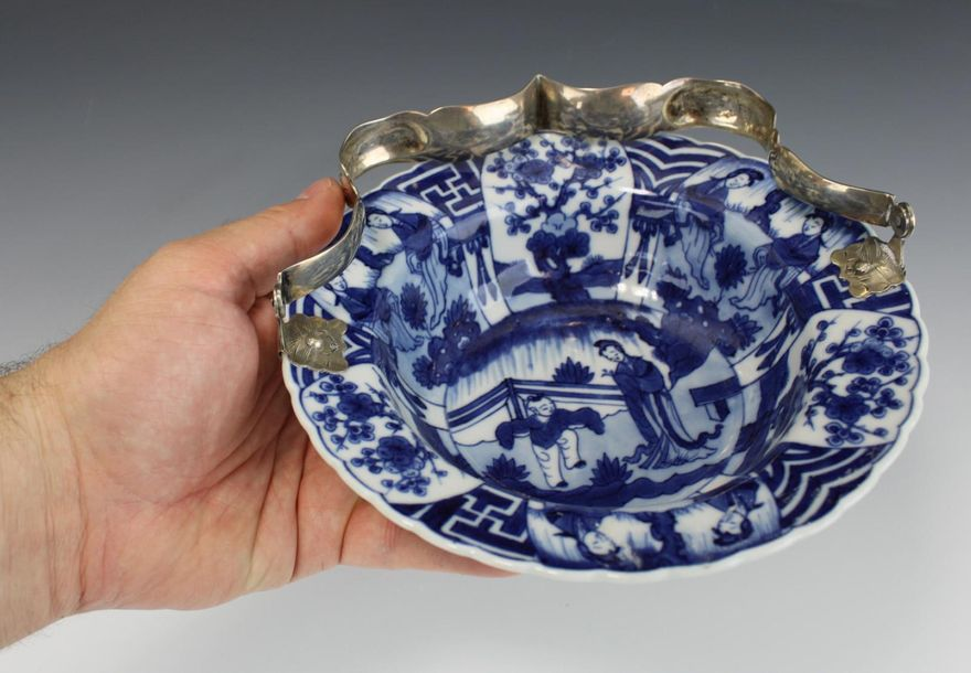 A blue and white Long Eliza bowl with silver handle A blue and white Long Eliza …