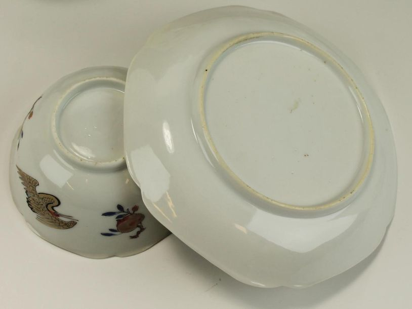 Eight semi eggshell cups and saucers with flying cranes Eight semi eggshell cups…