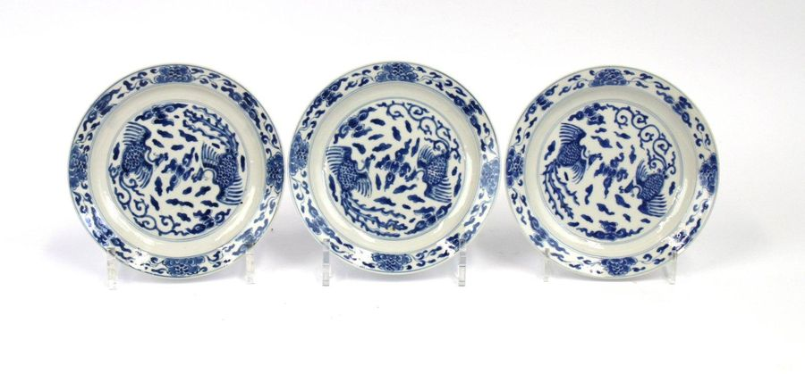 Three small size blue and white plates. Three small size blue and white plates. …