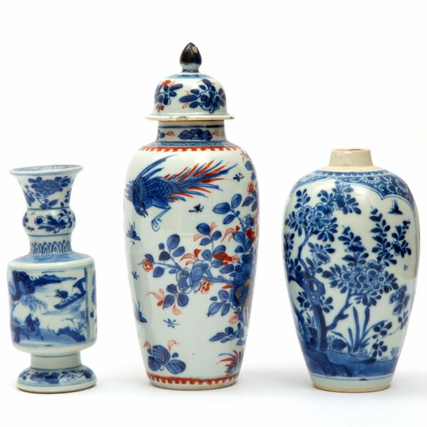 Three blue and white porcelain vases Three blue and white porcelain vases, Kangx…