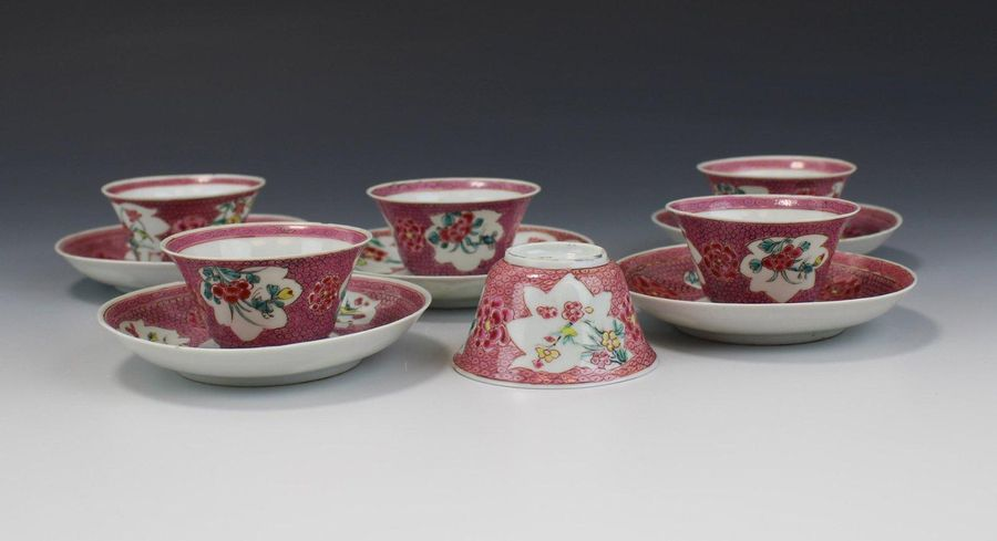 Five famille rose cups saucers Five famille rose cups saucers, Yongzheng period,…