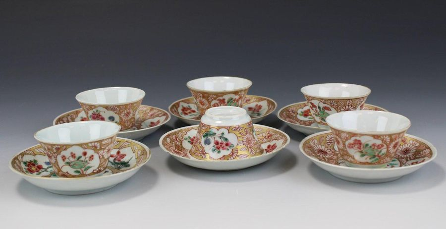 Six famille rose cups and saucers Six famille rose cups and saucers, Yongzheng p…